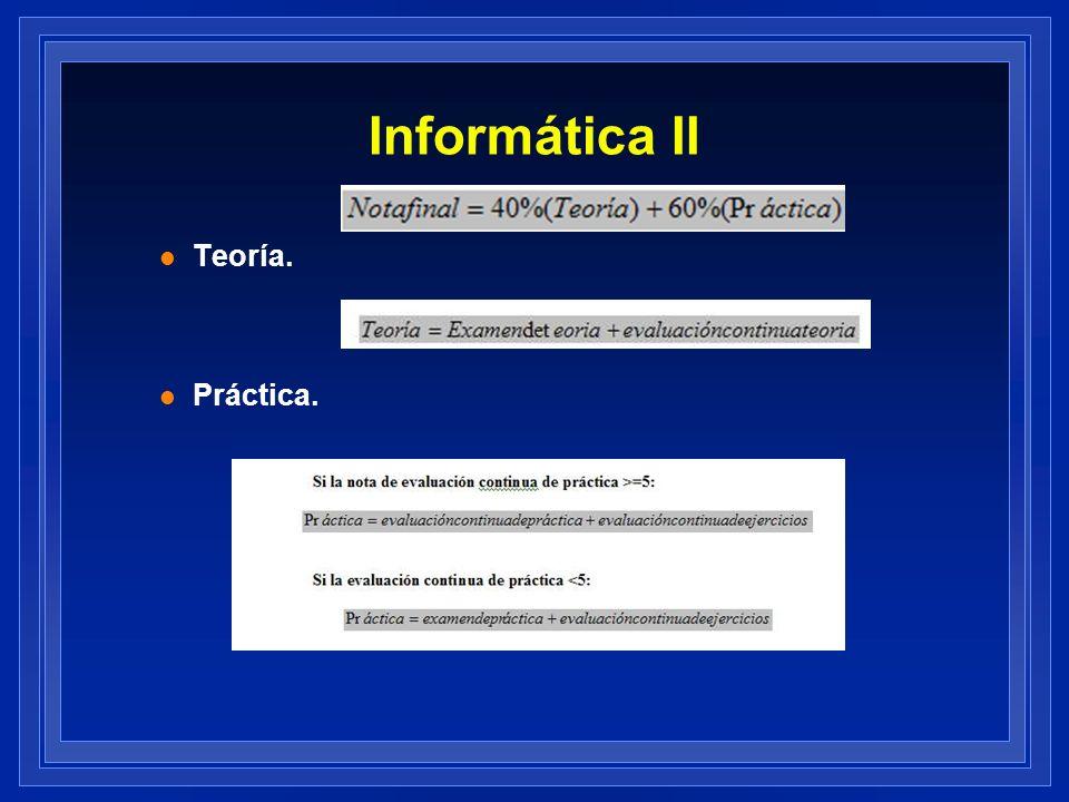 Asignatura Informática II Clases teóricas o prácticas Exposiciones.
