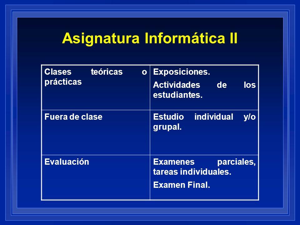 Asignatura Informática II Clases teóricas o prácticas Exposiciones. Actividades de los estudiantes. Fuera de claseEstudio individual y/o grupal. Evalu