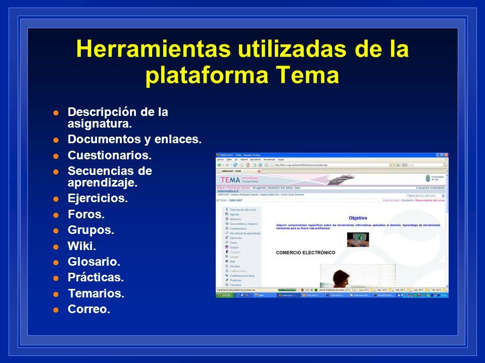 Herramientas utilizadas de la plataforma Tema l Descripción de la asignatura. l Documentos y enlaces. l Cuestionarios. l Secuencias de aprendizaje. l