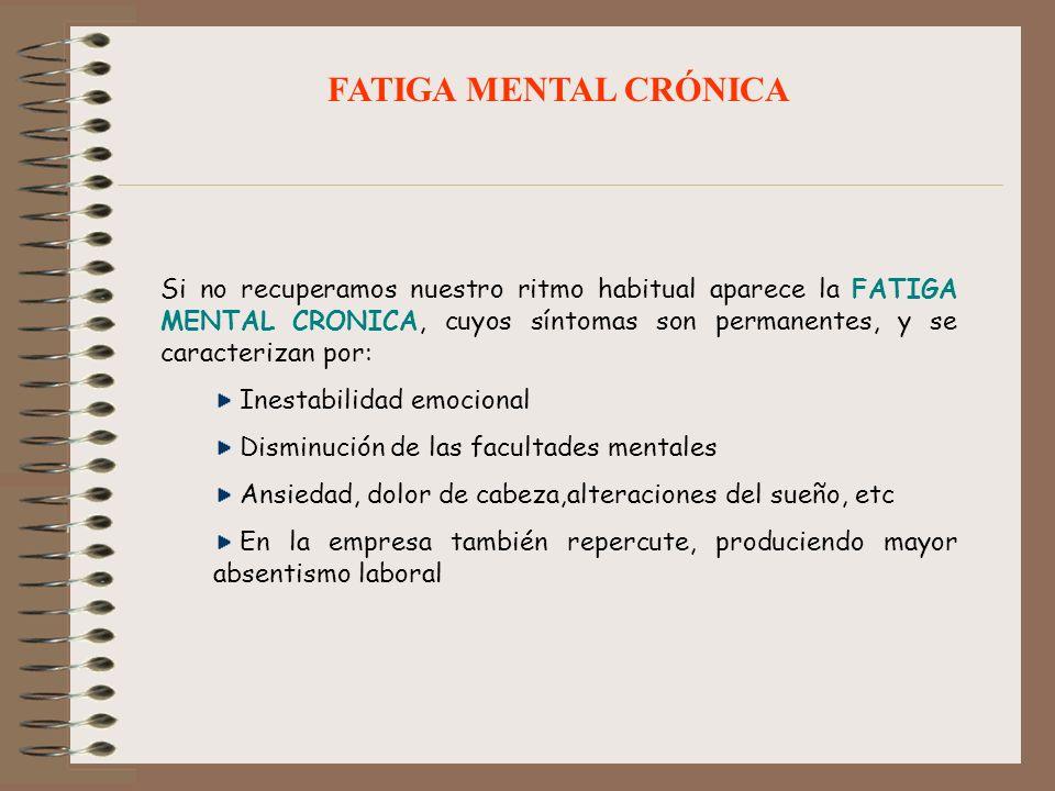 Si no recuperamos nuestro ritmo habitual aparece la FATIGA MENTAL CRONICA, cuyos síntomas son permanentes, y se caracterizan por: Inestabilidad emocio