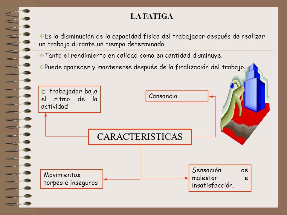 LA FATIGA Es la disminución de la capacidad física del trabajador después de realizar un trabajo durante un tiempo determinado. Tanto el rendimiento e