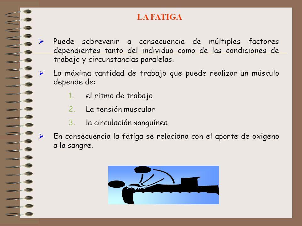 LA FATIGA Puede sobrevenir a consecuencia de múltiples factores dependientes tanto del individuo como de las condiciones de trabajo y circunstancias p