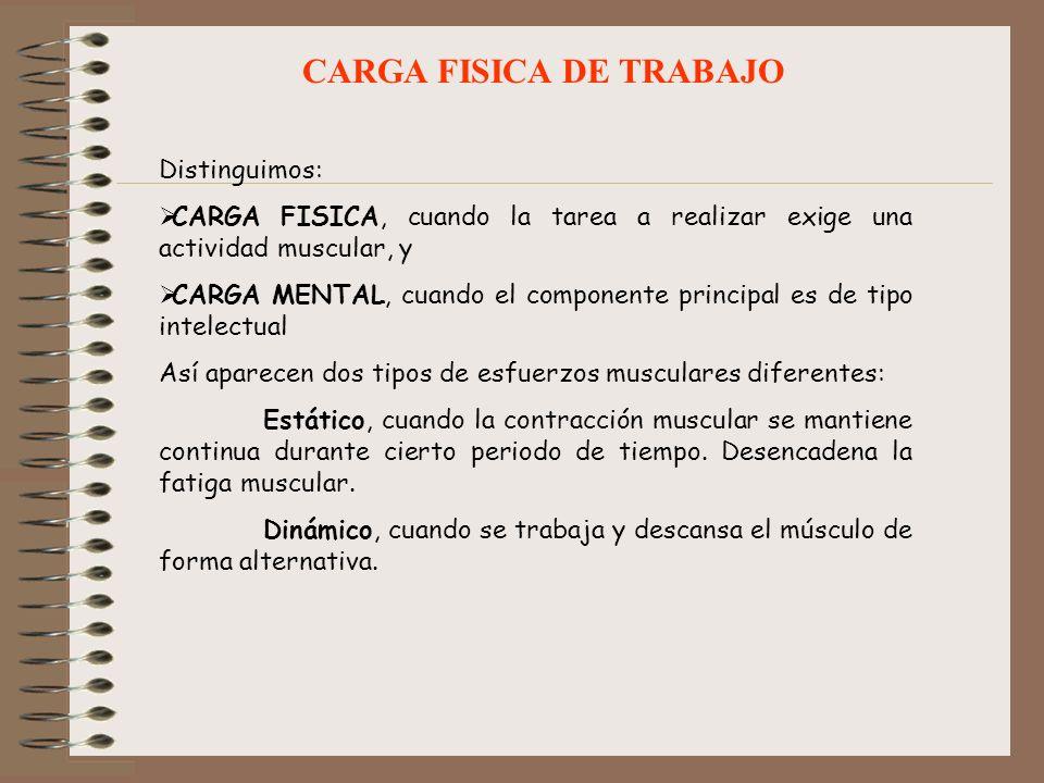 CARGA FISICA DE TRABAJO Distinguimos: CARGA FISICA, cuando la tarea a realizar exige una actividad muscular, y CARGA MENTAL, cuando el componente prin