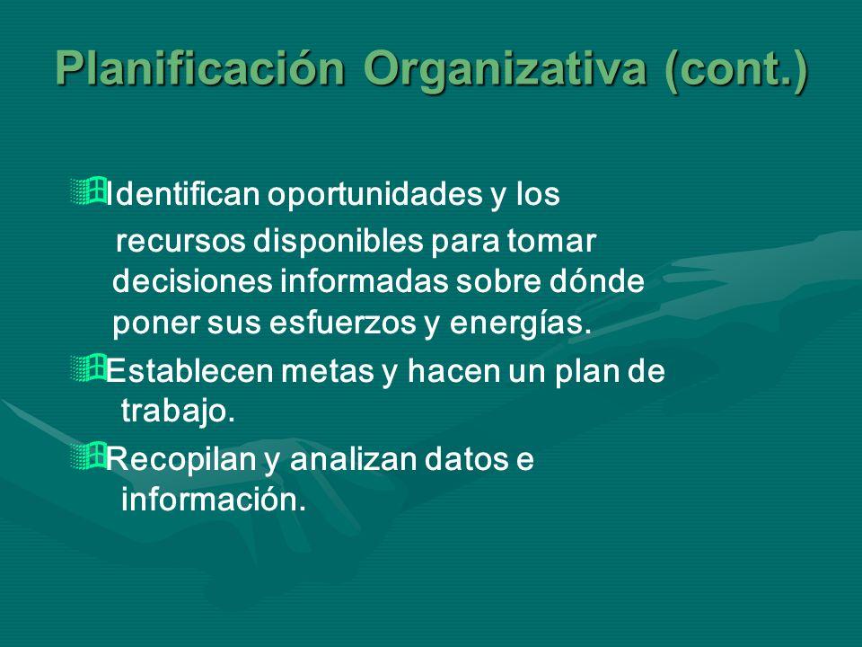 Planificación Organizativa (cont.) Identifican oportunidades y los recursos disponibles para tomar decisiones informadas sobre dónde poner sus esfuerz