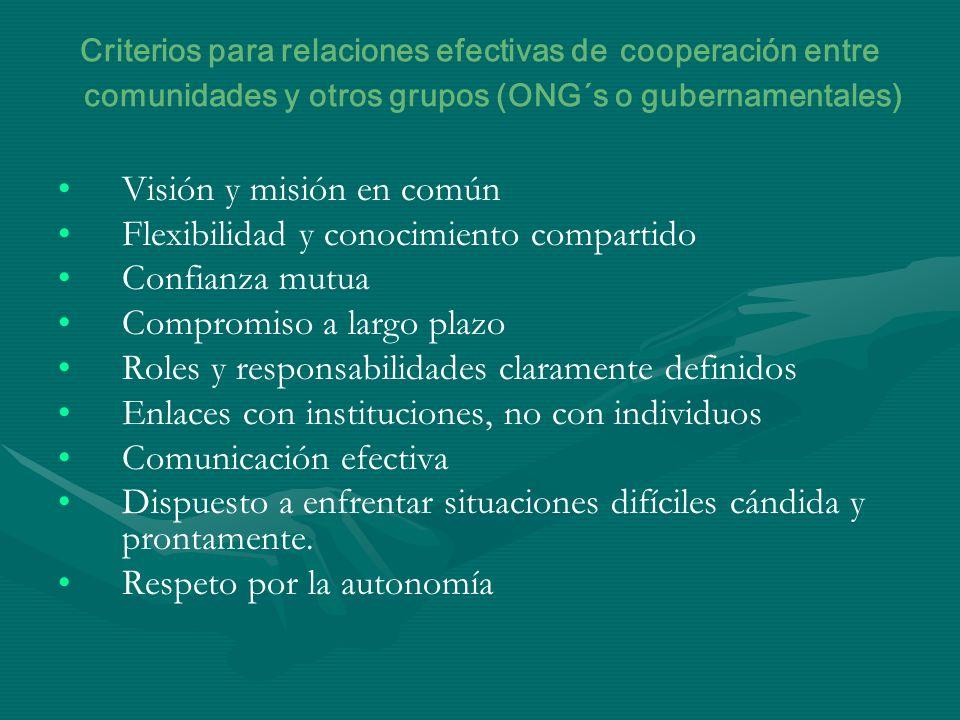 Criterios para relaciones efectivas de cooperación entre comunidades y otros grupos (ONG´s o gubernamentales) Visión y misión en común Flexibilidad y