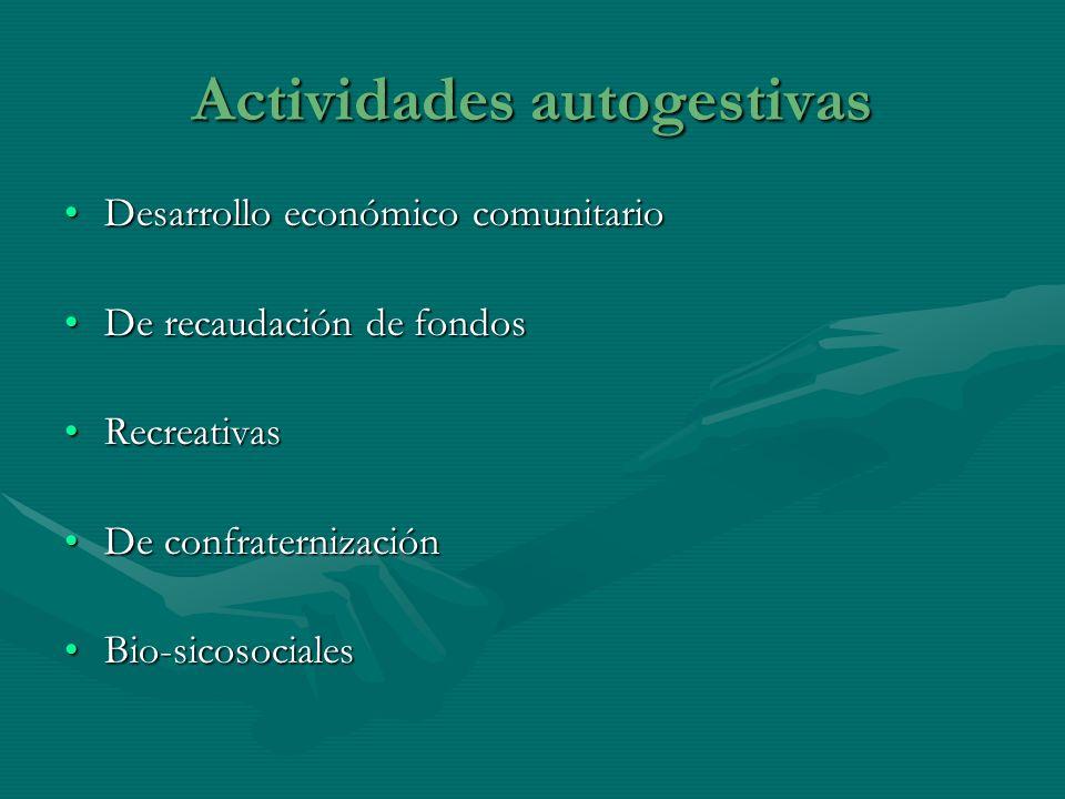 Actividades autogestivas Desarrollo económico comunitarioDesarrollo económico comunitario De recaudación de fondosDe recaudación de fondos Recreativas