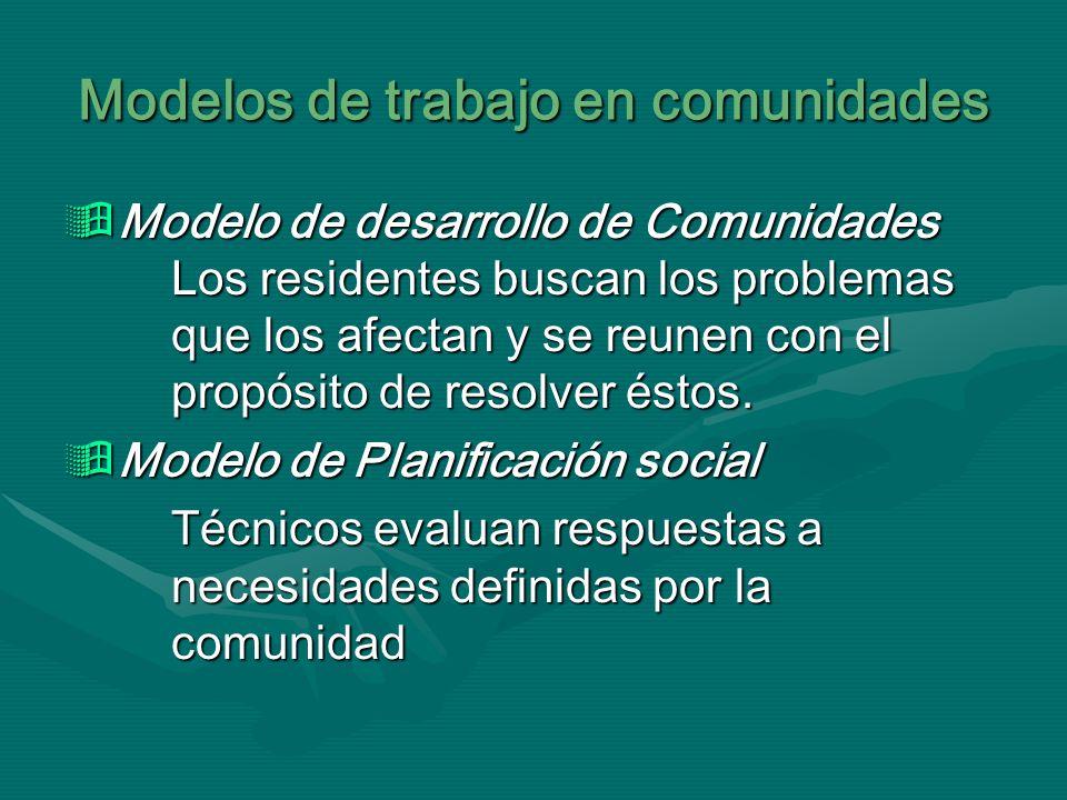 Modelos de trabajo en comunidades Modelo de desarrollo de Comunidades Los residentes buscan los problemas que los afectan y se reunen con el propósito