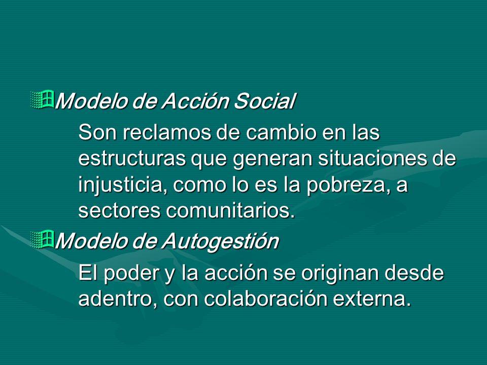 Modelo de Acción Social Modelo de Acción Social Son reclamos de cambio en las estructuras que generan situaciones de injusticia, como lo es la pobreza
