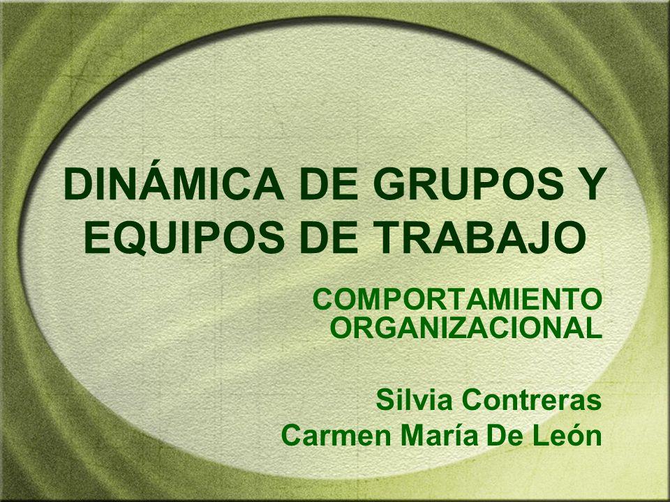 DINÁMICA DE GRUPOS Y EQUIPOS DE TRABAJO COMPORTAMIENTO ORGANIZACIONAL Silvia Contreras Carmen María De León