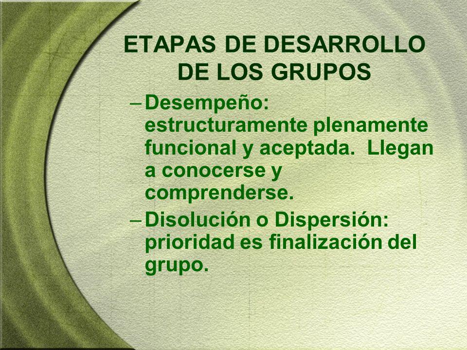 ETAPAS DE DESARROLLO DE LOS GRUPOS –Desempeño: estructuramente plenamente funcional y aceptada. Llegan a conocerse y comprenderse. –Disolución o Dispe