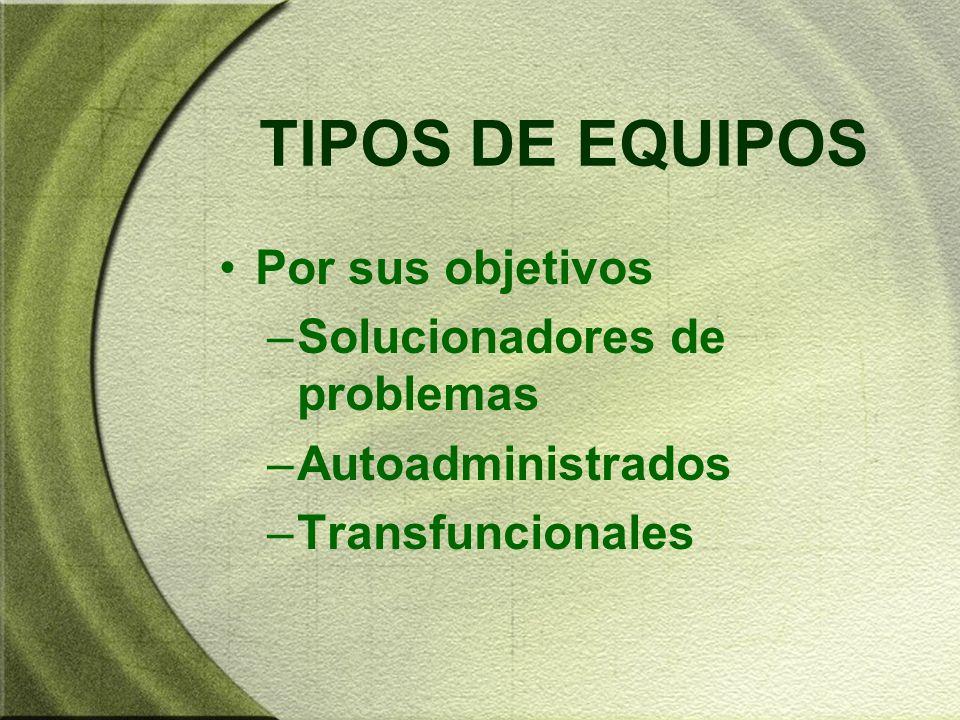 TIPOS DE EQUIPOS Por sus objetivos –Solucionadores de problemas –Autoadministrados –Transfuncionales