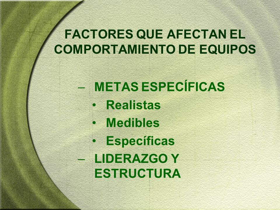 FACTORES QUE AFECTAN EL COMPORTAMIENTO DE EQUIPOS –METAS ESPECÍFICAS Realistas Medibles Específicas –LIDERAZGO Y ESTRUCTURA