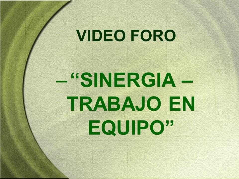 VIDEO FORO –SINERGIA – TRABAJO EN EQUIPO