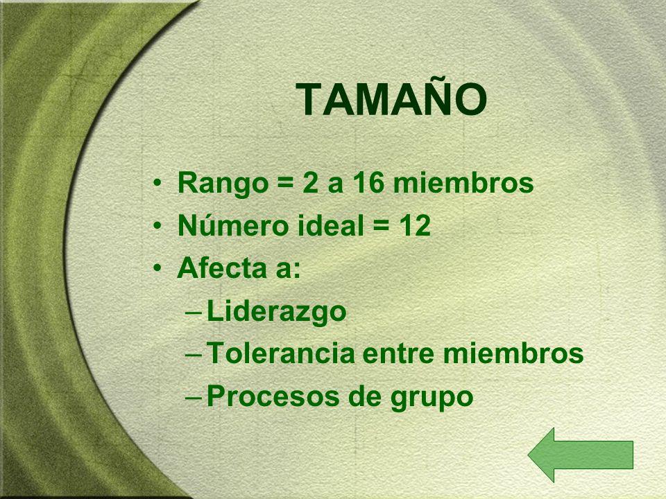 TAMAÑO Rango = 2 a 16 miembros Número ideal = 12 Afecta a: –Liderazgo –Tolerancia entre miembros –Procesos de grupo