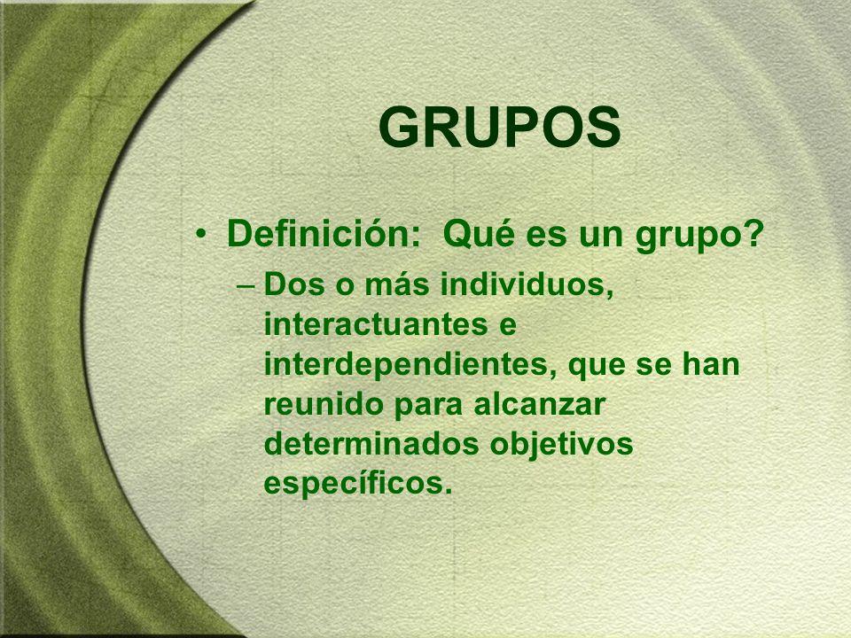 GRUPOS Definición: Qué es un grupo? –Dos o más individuos, interactuantes e interdependientes, que se han reunido para alcanzar determinados objetivos