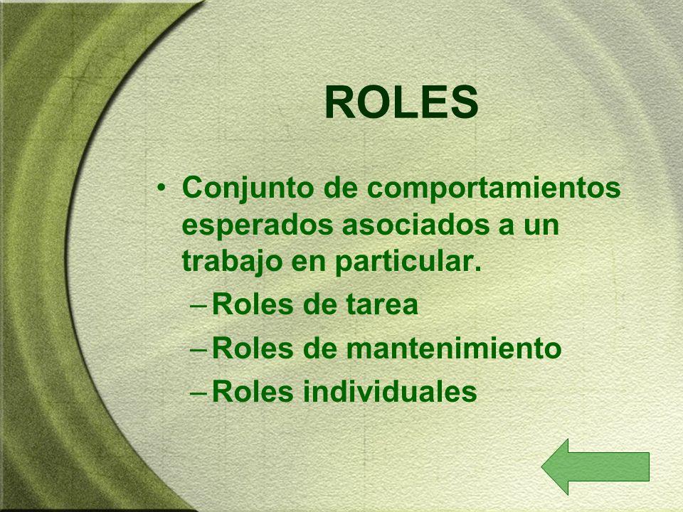 ROLES Conjunto de comportamientos esperados asociados a un trabajo en particular. –Roles de tarea –Roles de mantenimiento –Roles individuales