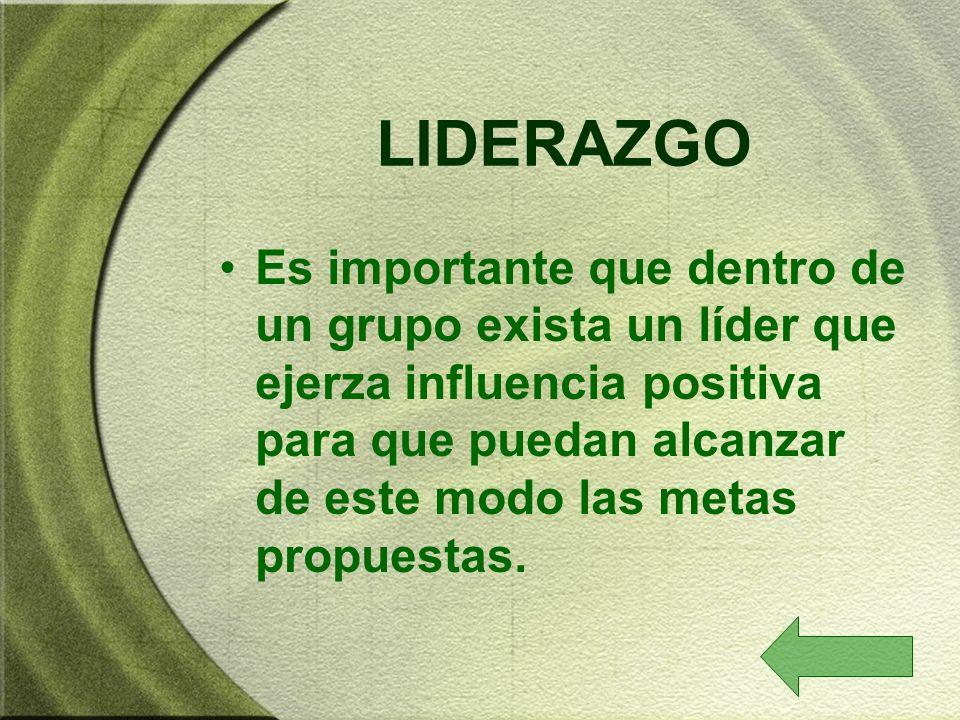 LIDERAZGO Es importante que dentro de un grupo exista un líder que ejerza influencia positiva para que puedan alcanzar de este modo las metas propuest