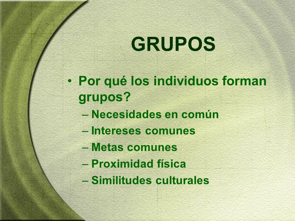 GRUPOS Por qué los individuos forman grupos? –Necesidades en común –Intereses comunes –Metas comunes –Proximidad física –Similitudes culturales