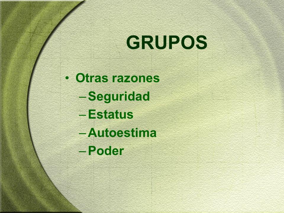 CLASIFICACIÓN DE GRUPOS FORMALES: definidos por la estructura organizacional, con funciones designadas –Grupos de mando: subordinados dependen de un jefe –Grupos de trabajo: trabajar juntas para terminar una tarea