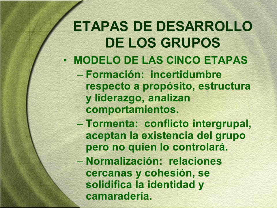ETAPAS DE DESARROLLO DE LOS GRUPOS MODELO DE LAS CINCO ETAPAS –Formación: incertidumbre respecto a propósito, estructura y liderazgo, analizan comport