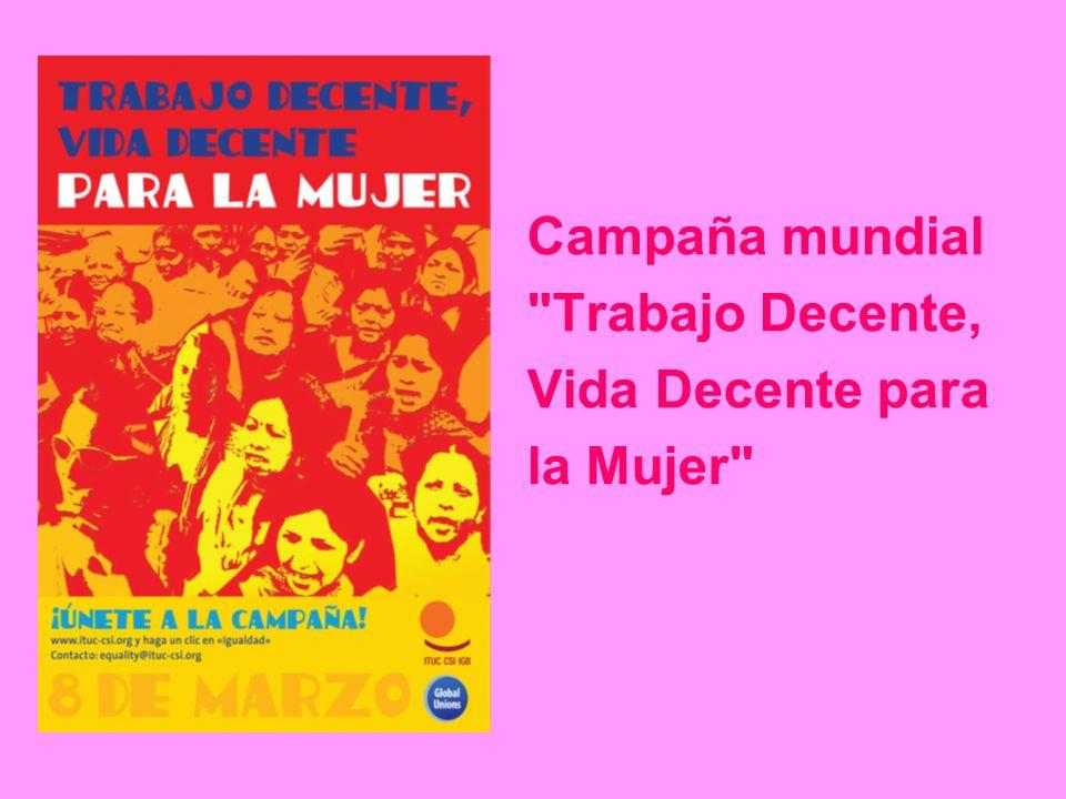Campaña mundial Trabajo Decente, Vida Decente para la Mujer Objetivos: Trabajo decente para las mujeres Igualdad de género en las estructuras, políticas y actividades sindicales