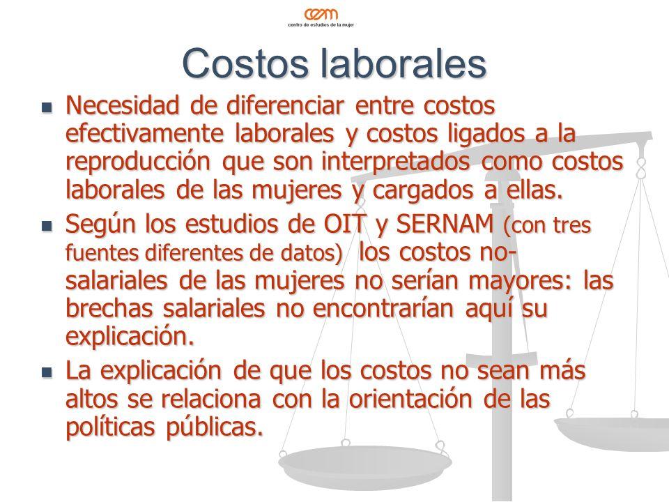 Costos laborales Necesidad de diferenciar entre costos efectivamente laborales y costos ligados a la reproducción que son interpretados como costos laborales de las mujeres y cargados a ellas.