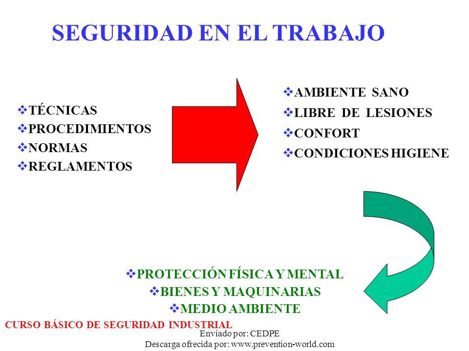 Enviado por: CEDPE Descarga ofrecida por: www.prevention-world.com SEGURIDAD EN EL TRABAJO TÉCNICAS PROCEDIMIENTOS NORMAS REGLAMENTOS AMBIENTE SANO LI