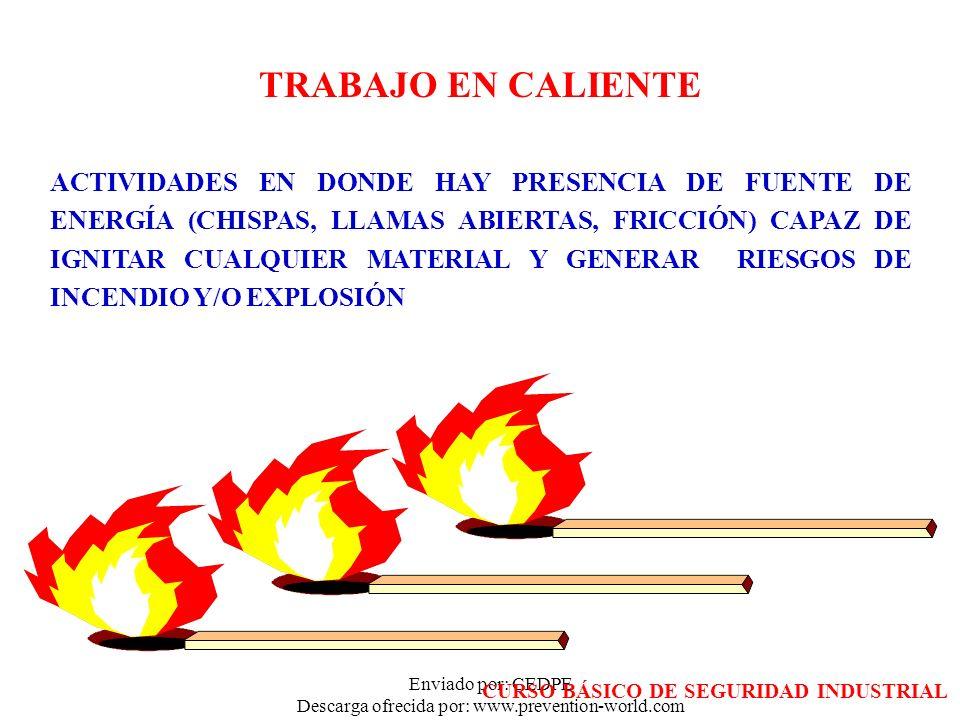 Enviado por: CEDPE Descarga ofrecida por: www.prevention-world.com TRABAJO EN CALIENTE ACTIVIDADES EN DONDE HAY PRESENCIA DE FUENTE DE ENERGÍA (CHISPA