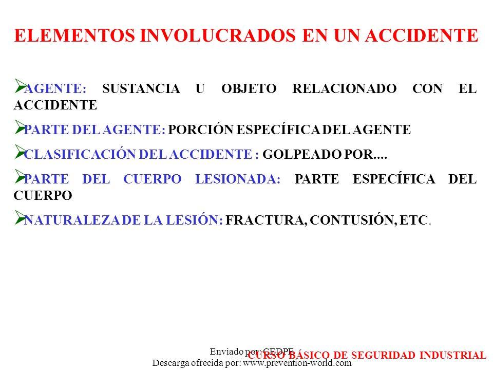 Enviado por: CEDPE Descarga ofrecida por: www.prevention-world.com ELEMENTOS INVOLUCRADOS EN UN ACCIDENTE AGENTE: SUSTANCIA U OBJETO RELACIONADO CON E