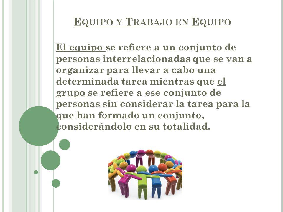 E QUIPO Y T RABAJO EN E QUIPO Grupo de personas organizadas para un servicio, deporte, etc.