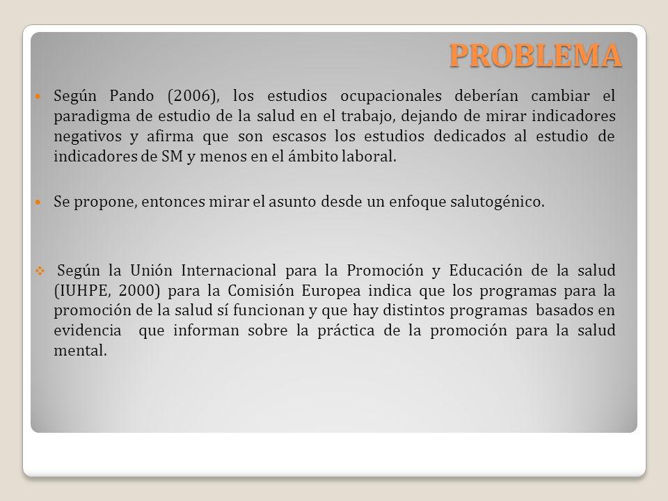PROBLEMA Según Pando (2006), los estudios ocupacionales deberían cambiar el paradigma de estudio de la salud en el trabajo, dejando de mirar indicador