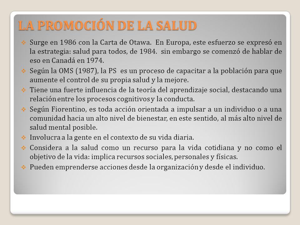 LA PROMOCIÓN DE LA SALUD Surge en 1986 con la Carta de Otawa. En Europa, este esfuerzo se expresó en la estrategia: salud para todos, de 1984. sin emb