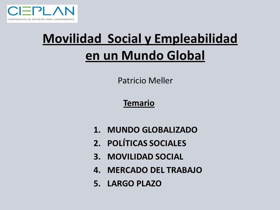 Temario 1.MUNDO GLOBALIZADO 2.POLÍTICAS SOCIALES 3.MOVILIDAD SOCIAL 4.MERCADO DEL TRABAJO 5.LARGO PLAZO Movilidad Social y Empleabilidad en un Mundo G