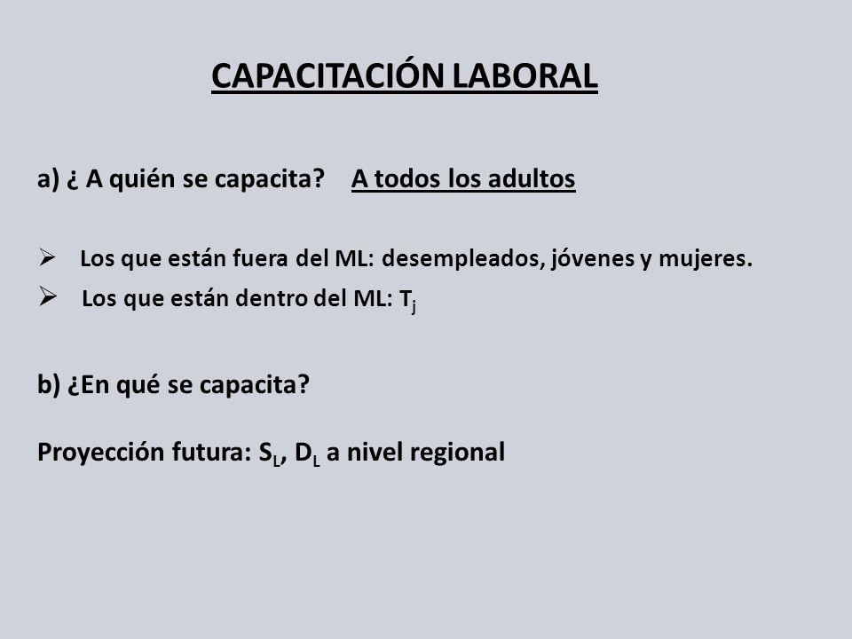 a) ¿ A quién se capacita? A todos los adultos Los que están fuera del ML: desempleados, jóvenes y mujeres. Los que están dentro del ML: T j b) ¿En qué