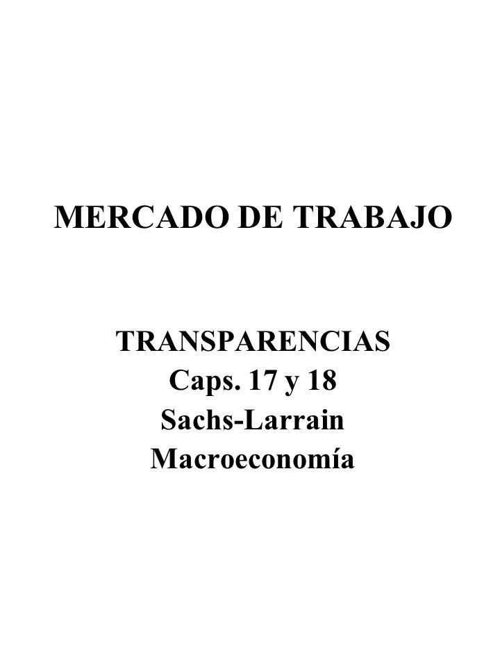 MERCADO DE TRABAJO TRANSPARENCIAS Caps. 17 y 18 Sachs-Larrain Macroeconomía