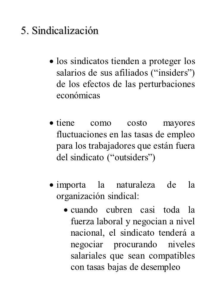 5. Sindicalización los sindicatos tienden a proteger los salarios de sus afiliados (insiders) de los efectos de las perturbaciones económicas tiene co