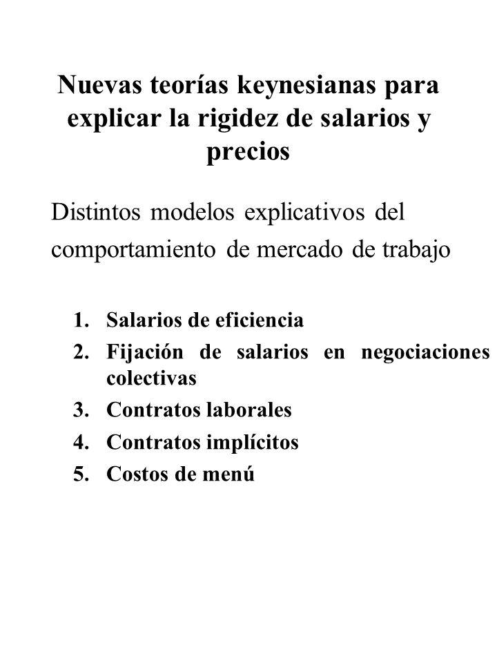 Nuevas teorías keynesianas para explicar la rigidez de salarios y precios Distintos modelos explicativos del comportamiento de mercado de trabajo 1.Sa