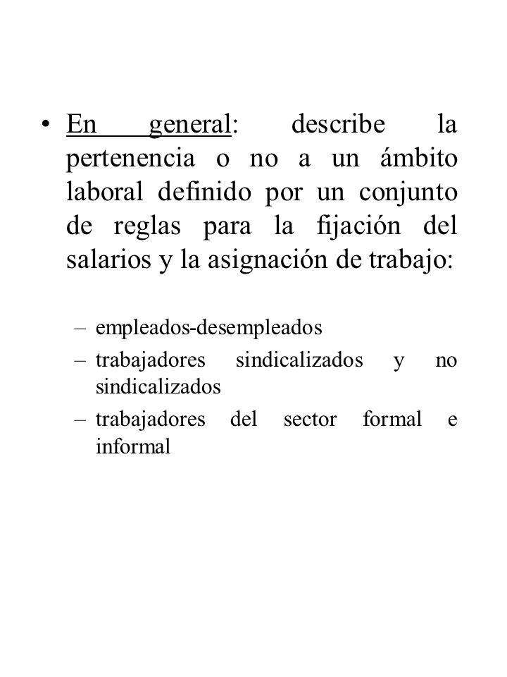 En general: describe la pertenencia o no a un ámbito laboral definido por un conjunto de reglas para la fijación del salarios y la asignación de traba