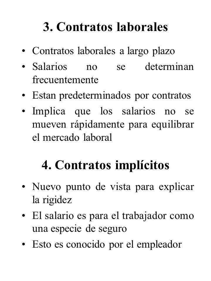 Contratos laborales a largo plazo Salarios no se determinan frecuentemente Estan predeterminados por contratos Implica que los salarios no se mueven r