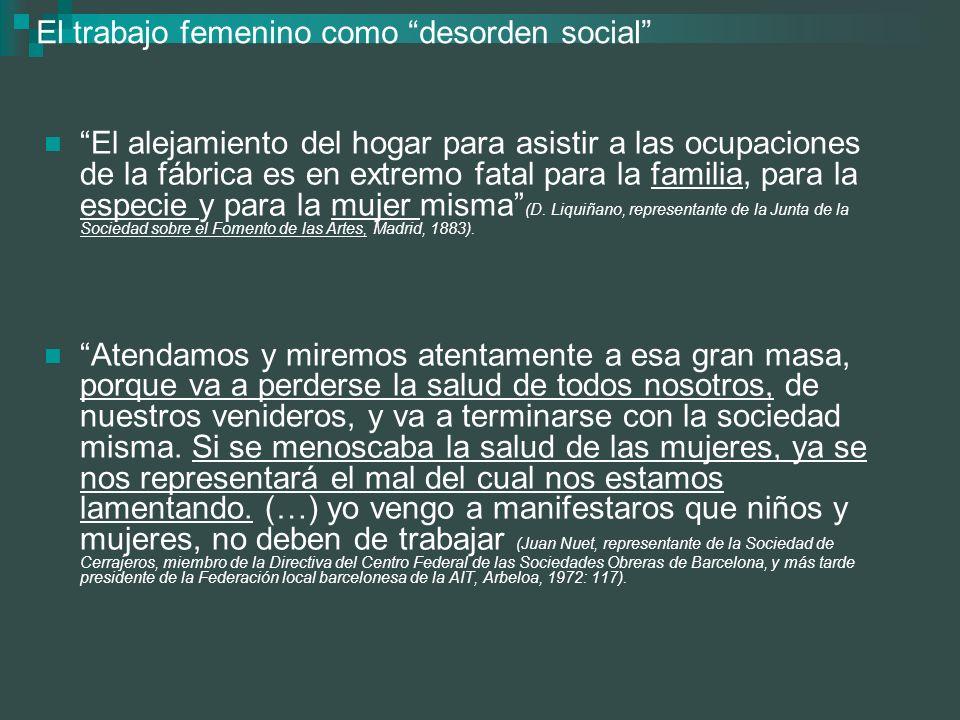El trabajo femenino como desorden social El alejamiento del hogar para asistir a las ocupaciones de la fábrica es en extremo fatal para la familia, pa
