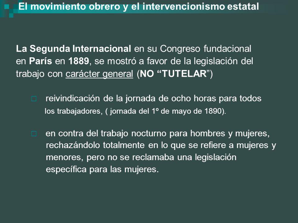 El movimiento obrero y el intervencionismo estatal La Segunda Internacional en su Congreso fundacional en París en 1889, se mostró a favor de la legis