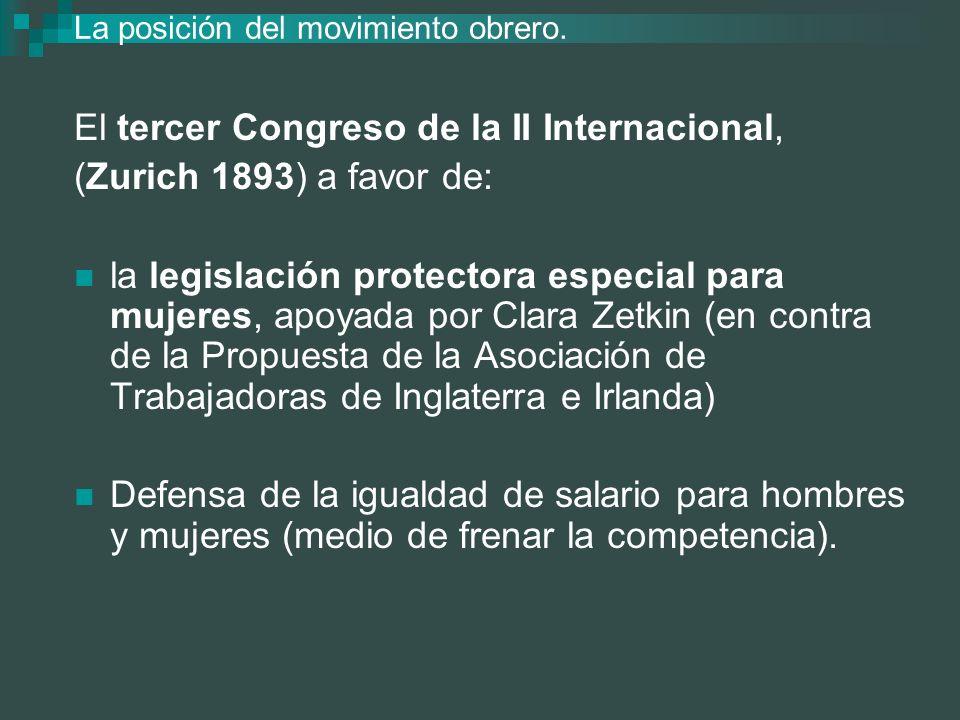 La posición del movimiento obrero. El tercer Congreso de la II Internacional, (Zurich 1893) a favor de: la legislación protectora especial para mujere