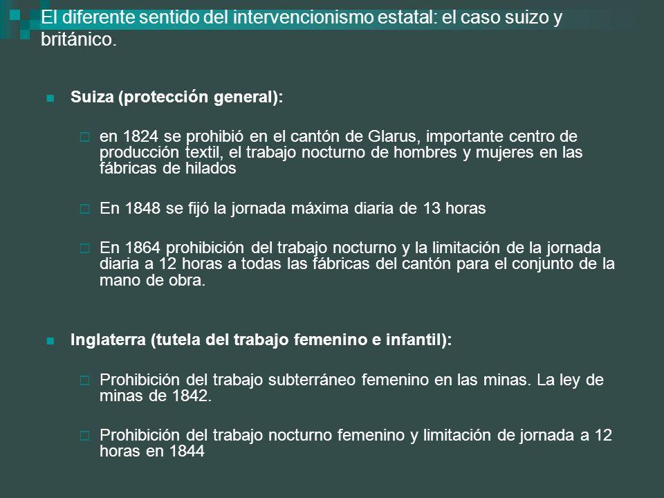 El diferente sentido del intervencionismo estatal: el caso suizo y británico. Suiza (protección general): en 1824 se prohibió en el cantón de Glarus,