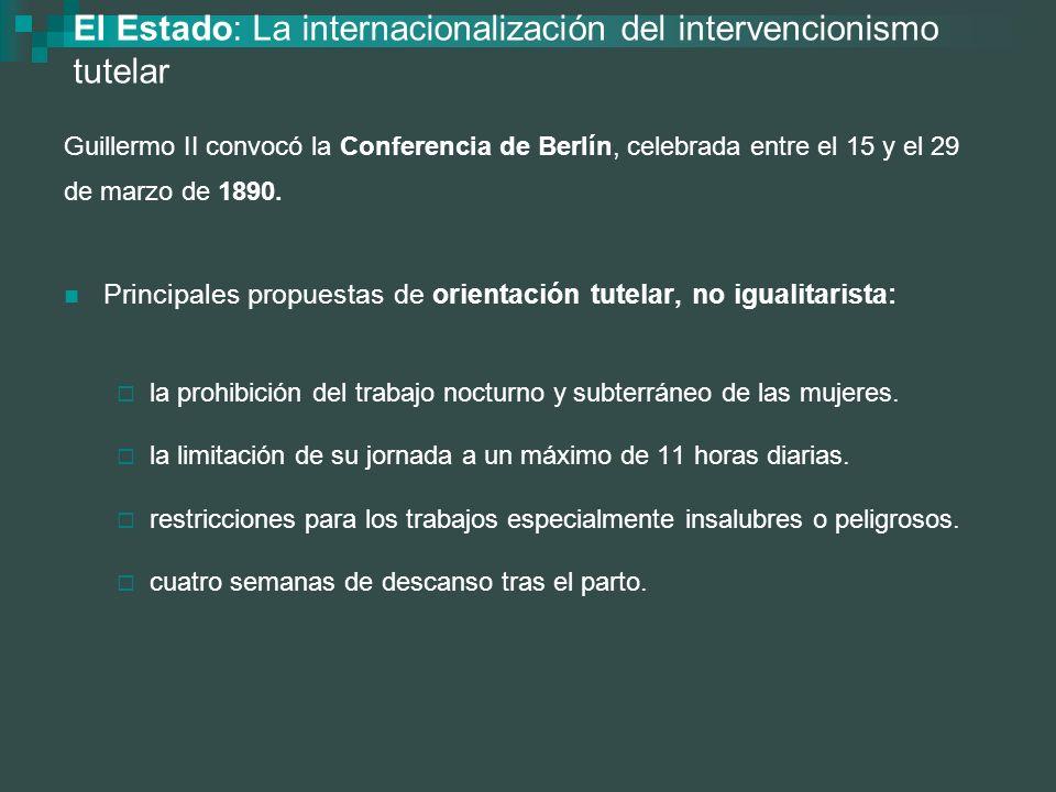 El Estado: La internacionalización del intervencionismo tutelar Guillermo II convocó la Conferencia de Berlín, celebrada entre el 15 y el 29 de marzo