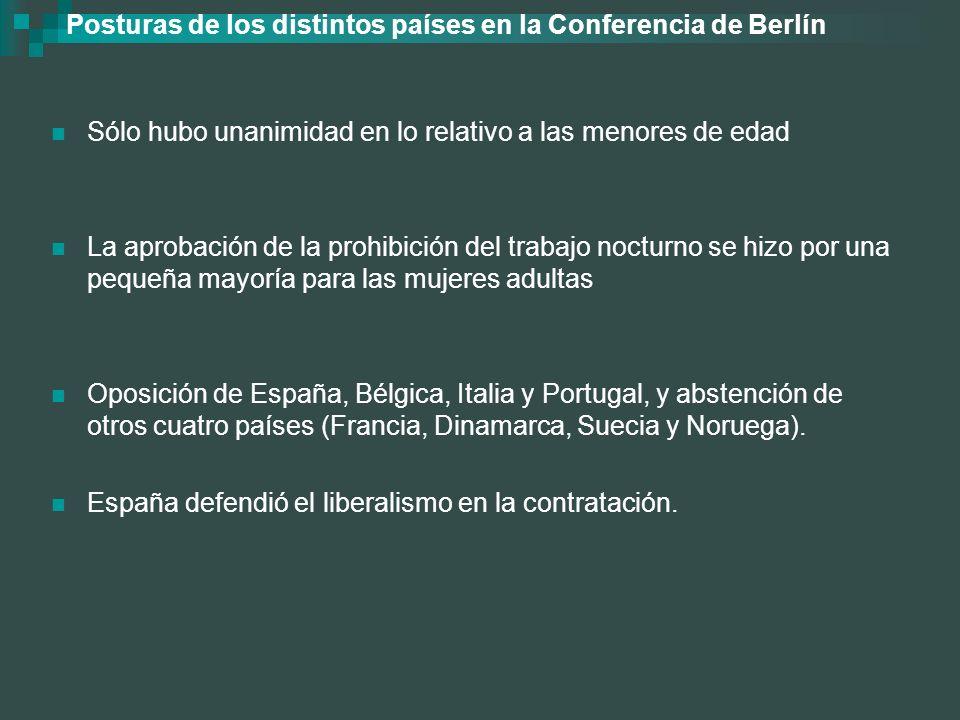 Posturas de los distintos países en la Conferencia de Berlín Sólo hubo unanimidad en lo relativo a las menores de edad La aprobación de la prohibición