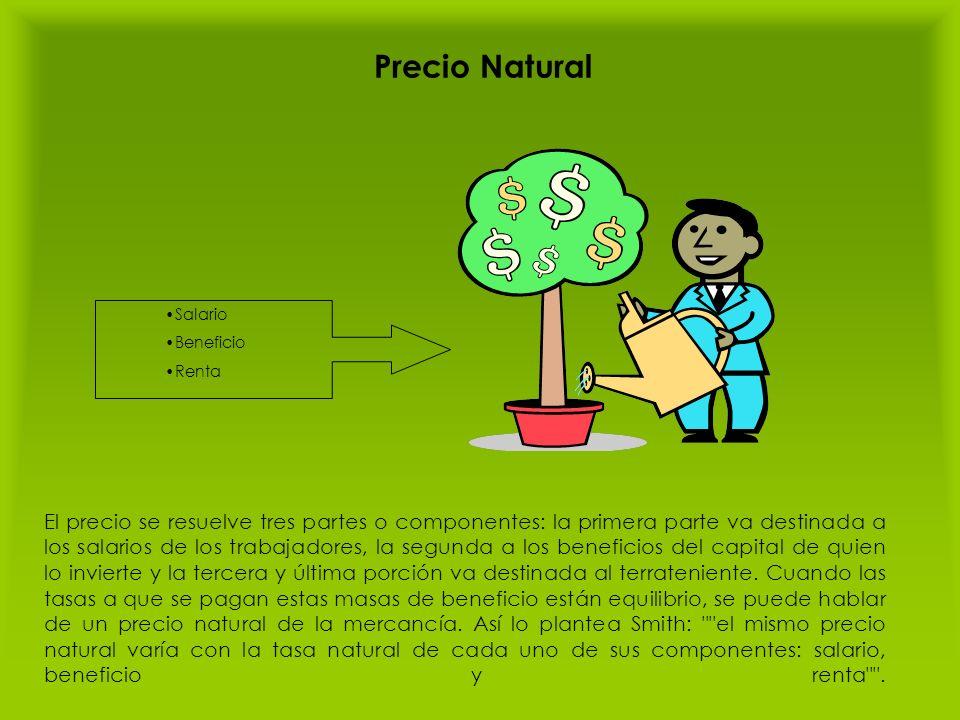 Precio Natural El precio se resuelve tres partes o componentes: la primera parte va destinada a los salarios de los trabajadores, la segunda a los ben