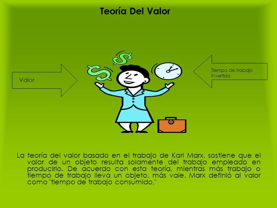 Teoría Del Valor La teoría del valor basado en el trabajo de Karl Marx, sostiene que el valor de un objeto resulta solamente del trabajo empleado en p