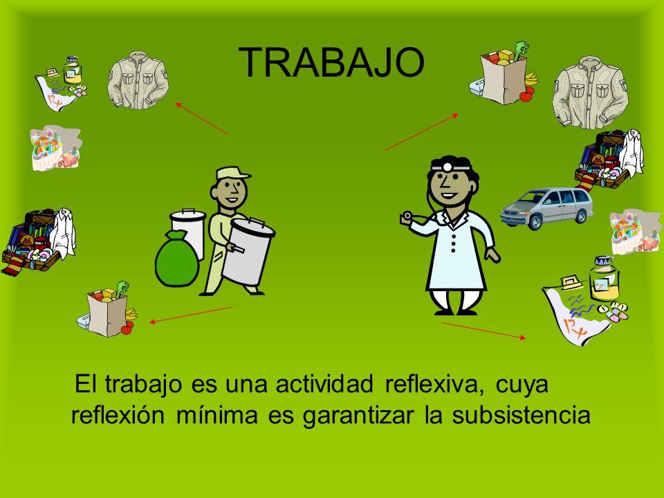 TRABAJO El trabajo es una actividad reflexiva, cuya reflexión mínima es garantizar la subsistencia