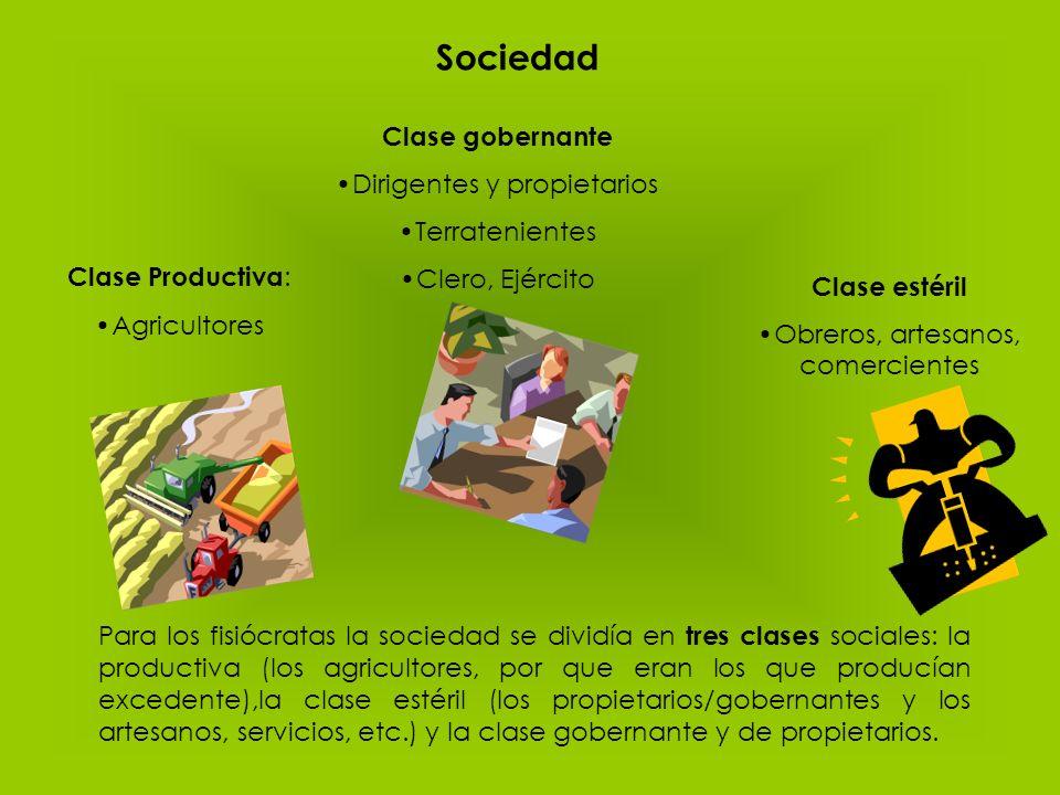 Sociedad Clase Productiva : Agricultores Clase estéril Obreros, artesanos, comercientes Para los fisiócratas la sociedad se dividía en tres clases soc