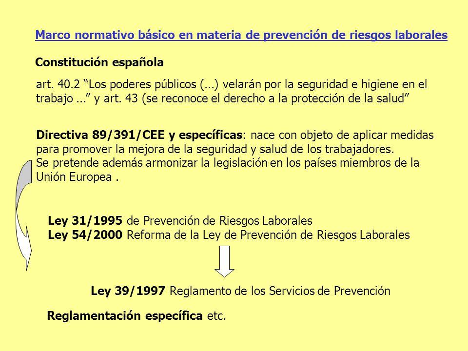 Marco normativo básico en materia de prevención de riesgos laborales art. 40.2 Los poderes públicos (...) velarán por la seguridad e higiene en el tra